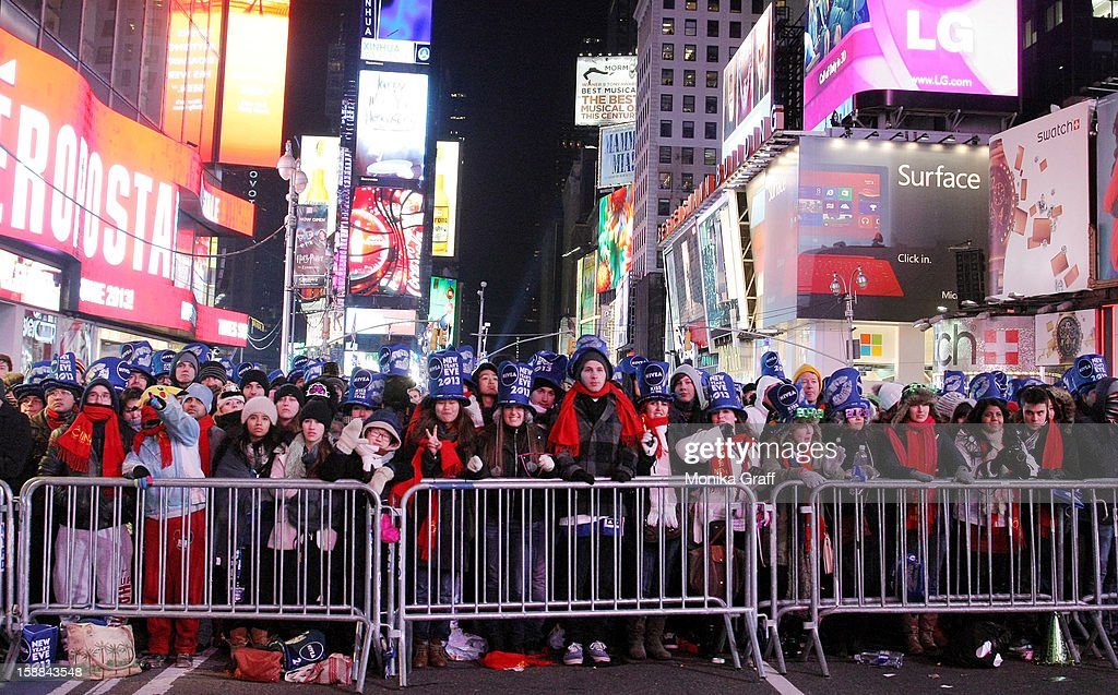 Hundreds of thousands of revelers gather in Times Square to celebrate New Year's Eve on December 31, 2012 in New York City. Approximately one million people are expected to ring in the new year in Times Square.