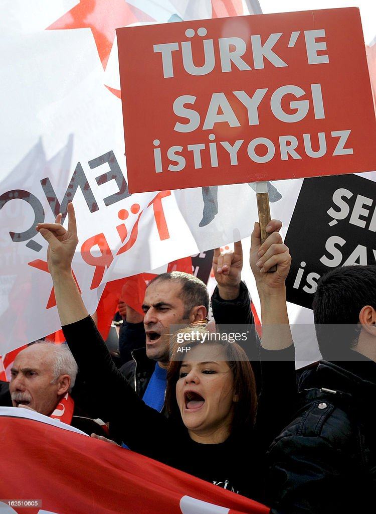 Hundreds of Turkish nationalists hold placards, reading: 'We want respect for martyrs,' on February 24, 2013 during a march on Istiklal Avenue to protest at the resumption of peace talks with Kurd rebels, saying they sullied the memory of soldiers killed in the near three-decade conflict. The protest was held a day after three Kurdish lawmakers visited Abdullah Ocalan, the jailed leader of the outlawed Kurdistan Workers' Party (PKK), at his island prison, the second such visit since the peace negotiations resumed late last year.