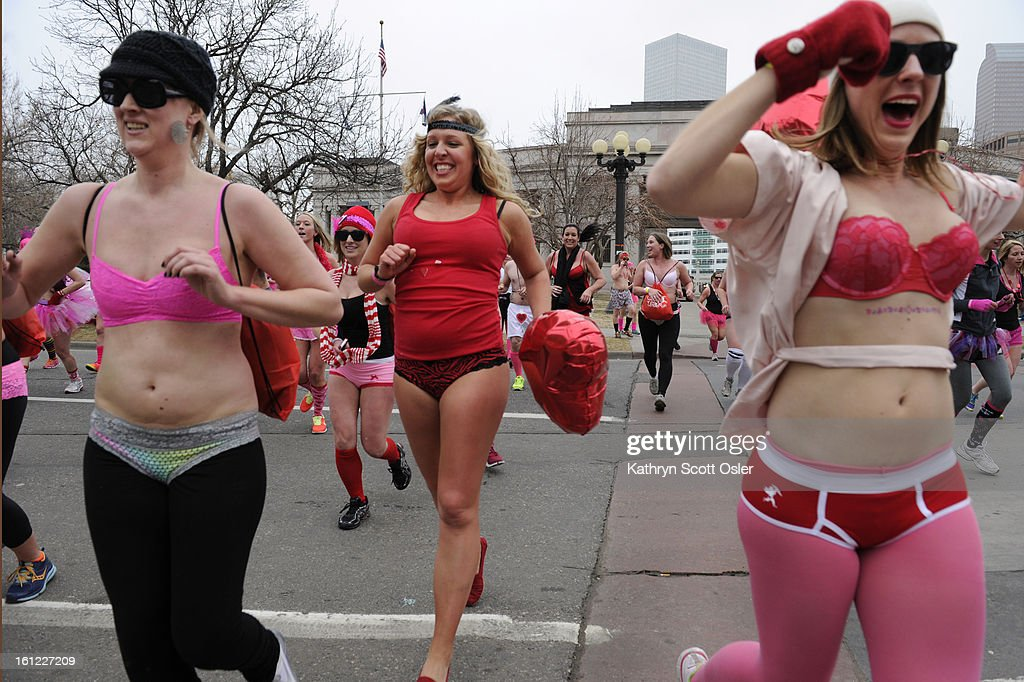 Hundreds of underwear-clad runners made their way downtown and around Civic Center Park in the Cupid's Undie Run all to raise money for The Children's Tumor Foundation.