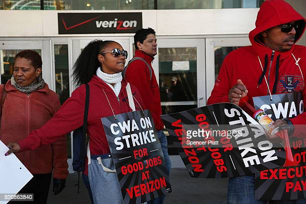 Hundreds of Verizon workers strike outside of the telecommunications company's Brooklyn offices on April 13 2016 in New York City Across the nation...