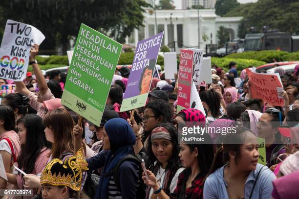 Hundreds of women held rally in front of Merdeka PalaceJakarta on 4 March 2017 in Jakarta Indonesia The rally to celebrate women day in the world...