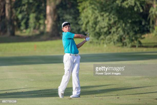 Hung Chienyao of Taiwan plays an approach shot during the 58th UBS Hong Kong Golf Open as part of the European Tour on 10 December 2016 at the Hong...