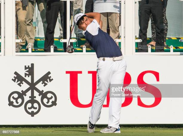 Hung Chienyao of Taiwan tees off the first hole during the 58th UBS Hong Kong Golf Open as part of the European Tour on 08 December 2016 at the Hong...