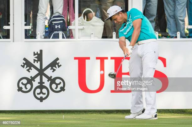 Hung Chienyao of Taiwan tees off the first hole during the 58th UBS Hong Kong Golf Open as part of the European Tour on 10 December 2016 at the Hong...