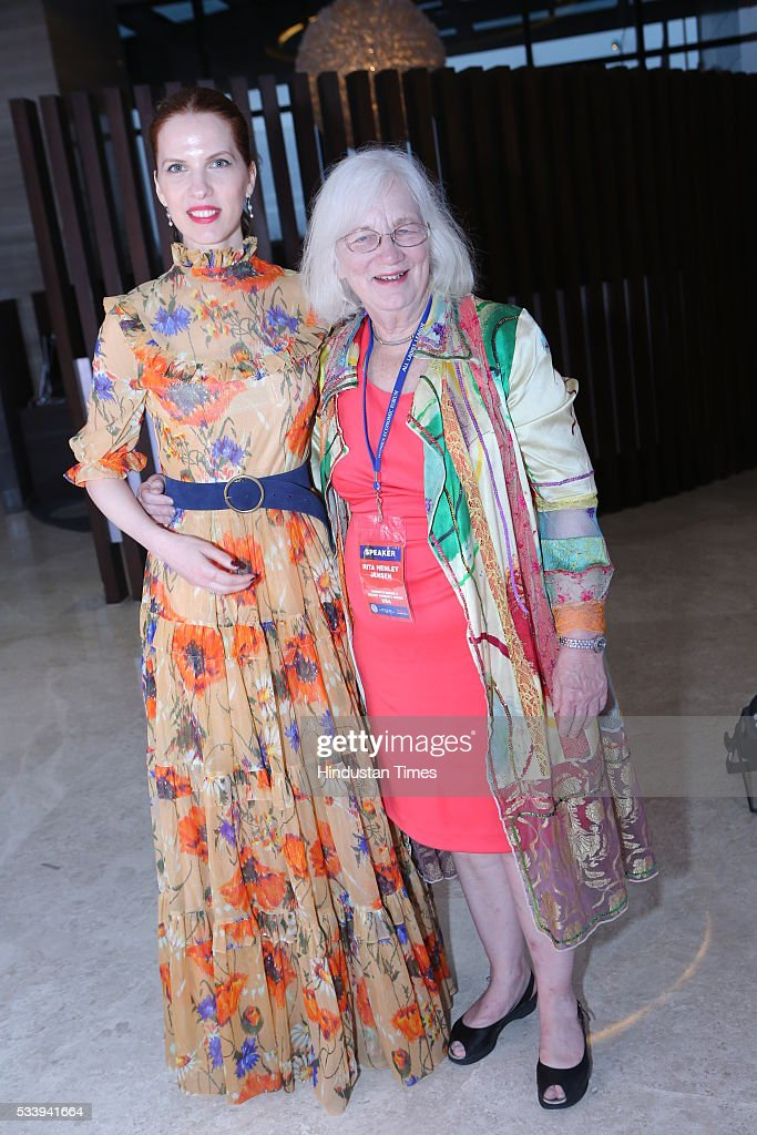 Hungarian Actress Henriett Tunyogi (L) with Women's eNews Founder Rita Henley Jensen (R) during Women Economic Forum event hosted by ALL Ladies League at Pullman-Novotel Hotel on May 20, 2016 in New Delhi, India.