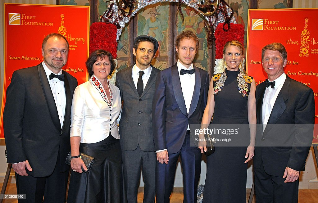 Hungarian ambassador to the United States Reka Szemerkenyi and husband Ferencz Szabolcs (Lt), Son of Saul lead actor Geza Rohrig, Son of Saul director Laszlo Nemes, the United States ambassador to Hungary Colleen Bradley Bell and husband, executive producer and writer Bradley P. Bell attend the Pre-Oscar Hungarians in Hollywood Gala celebrating the Academy Award nominated film Son of Saul at the Peninsula Hotel on February 27, 2016 in Beverly Hills, California.