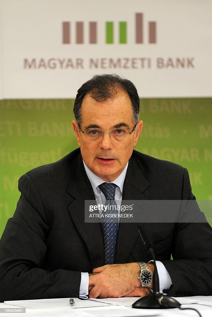 Hungarian central bank (MNB) chief Andras Simor speaks during a press conference in the headquarter of MNB in Budapest on January 29, 2013. The Hungarian central bank said it would reduced its main interest rate by a quarter of a point to 5.5 percent.