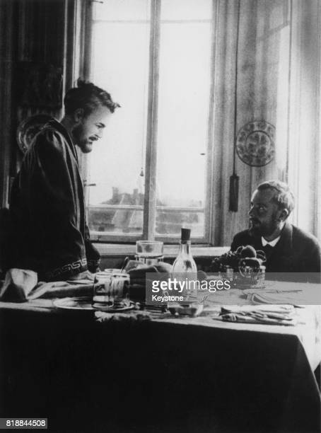 Hungarian composer Bela Bartok with linguist and composer Zoltan Kodaly at Kodaly's home in Budapest Hungary 1912