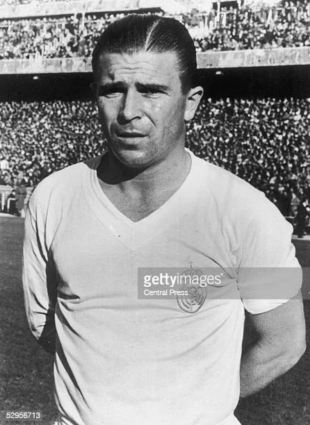 Hungarian footballer Ferenc Puskas the insideleft of Real Madrid FC December 1959