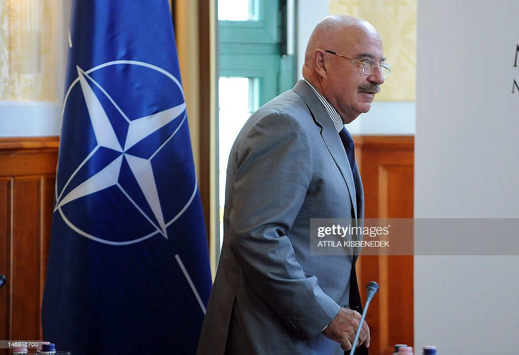 Hungarian Foreign Minister Janos Martonyi arrives to deliver the opening speech of the annual NATO Conference on Weapons of Mass Destruction, Arms Control, Disarmament and Non-proliferation at the Foreign Affairs bulding in Budapest on June 14, 2012. The conference, which has traditionally been organized in NATO member states since 2004, gives a chance to experts and government officials from member states, as well as from NATO partner countries from Europe, Asia, the Mediterranean, the Gulf and the Pacific regions to discuss issues such as proliferation of weapons of mass destruction and disarmament.