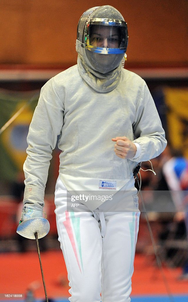 Hungarian Julia Mikulik competes during the 'Challenge Yves Brasseur' women's fencing World Cup tournament, on February 23, 2013, in Drongen, Belgium.
