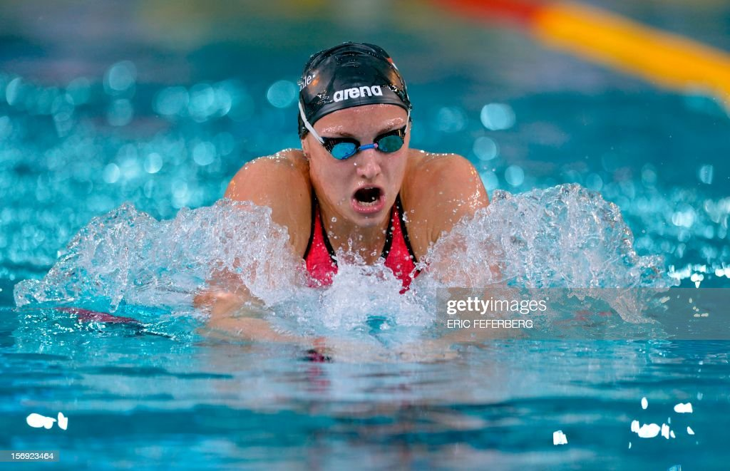 Hungarian Katinka Hosszu competes on November 25, 2012 in the women's 400m medley of the European short course swimming championships in the central French city of Chartres.
