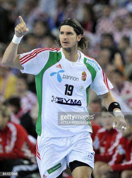 Hungarian Laszlo Nagy celebrates his score against Croatia during their main round match of 'Group I' for the men�s World Handball Championships in...