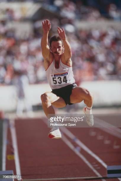 Hungarian long jumper Laszlo Szalma pictured in action competing for Hungary to finish in 6th place in the final of the Men's long jump event event...