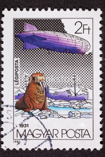 Hungarian Magyar Graf Zeppelin Air Mail Postage Stamp North Pole Stock Photo