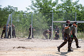 Hungarian military is erecting a fence on its border to Serbia in an effort to keep out refugees on July 16 2015 at Morahalom near Szeged Hungary...