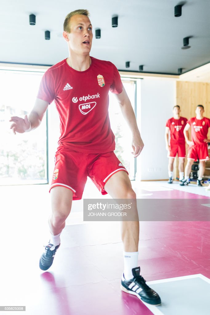 Hungarian national team player Adam Lang attends a training session of Hungarian national football team in Leogang, on May 30, 2016, as part of the team's preparation for the upcoming Euro 2016 European football championships in France. - / AFP / APA / Johann GRODER / Austria OUT