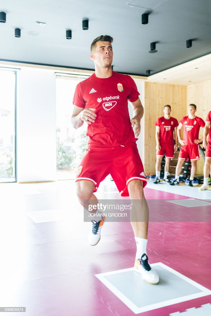 Hungarian national team player Gergo Kocsis attends a training session of Hungarian national football team in Leogang, on May 30, 2016, as part of the team's preparation for the upcoming Euro 2016 European football championships in France. / AFP / APA / Johann GRODER / Austria OUT