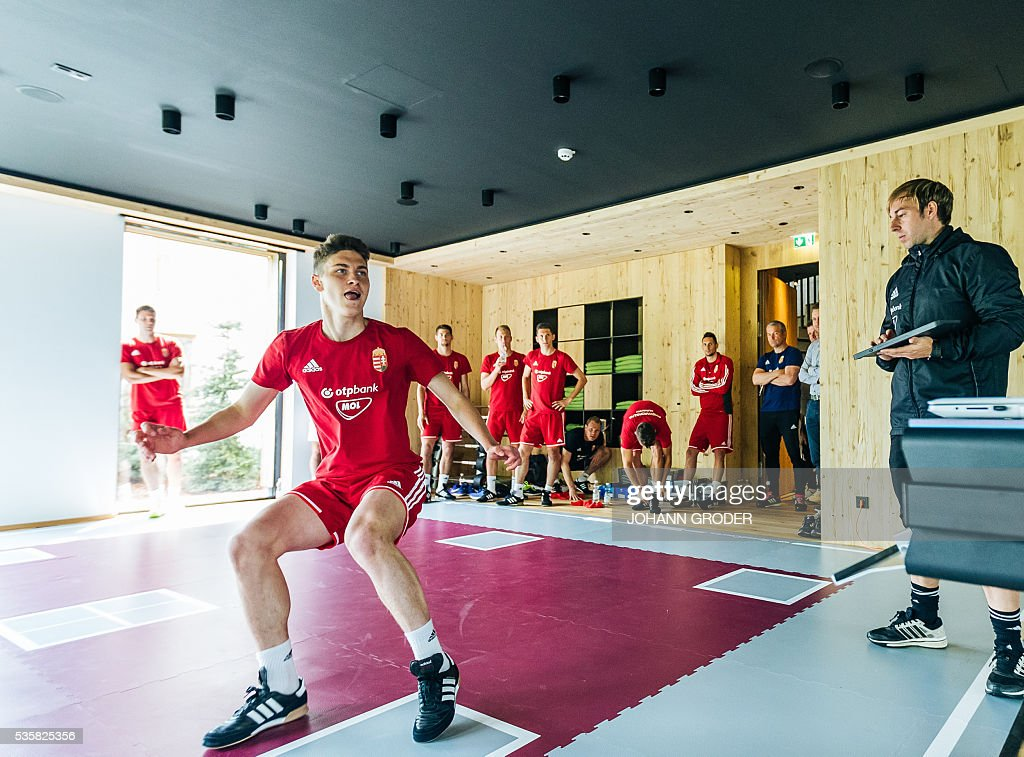Hungarian national team player Roland Sallai attends a training session of Hungarian national football team in Leogang, on May 30, 2016, as part of the team's preparation for the upcoming Euro 2016 European football championships in France. - / AFP / APA / Johann GRODER / Austria OUT