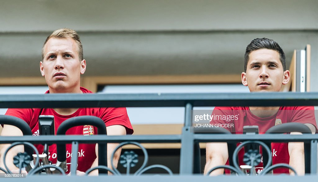 Hungarian national team players (L-R) Adam Lang, Mate Vida are pictured during a training session of Hungarian national football team in Leogang, on May 30, 2016, as part of the team's preparation for the upcoming Euro 2016 European football championships in France. / AFP / APA / Johann GRODER / Austria OUT