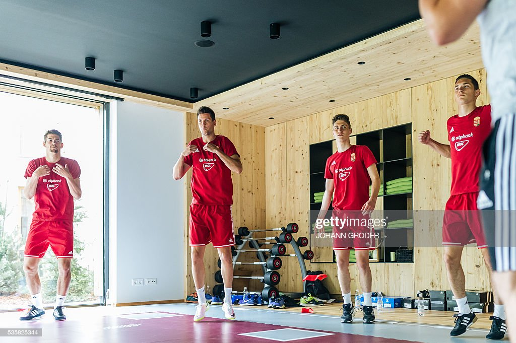 Hungarian national team players (L-R) Barnabas Bese, Richard Guzmics, Roland Sallai, Mate Vida attend a training session of Hungarian national football team in Leogang, on May 30, 2016, as part of the team's preparation for the upcoming Euro 2016 European football championships in France. - / AFP / APA / Johann GRODER / Austria OUT