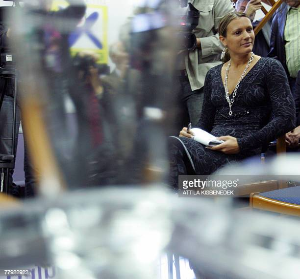 Hungarian Olympic champion Agnes Kovacs who won the the 200meter Breastroke gold medal at the 2000 Sydney Olympics sits in front of the disciplinary...