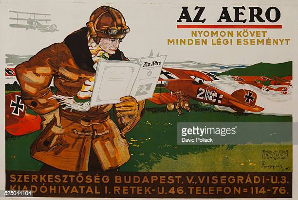Hungarian poster for avaiation magazine AZ Aero illustrated by Imre Spiegel Showing pilot in front of row of biplanes with German cross markings