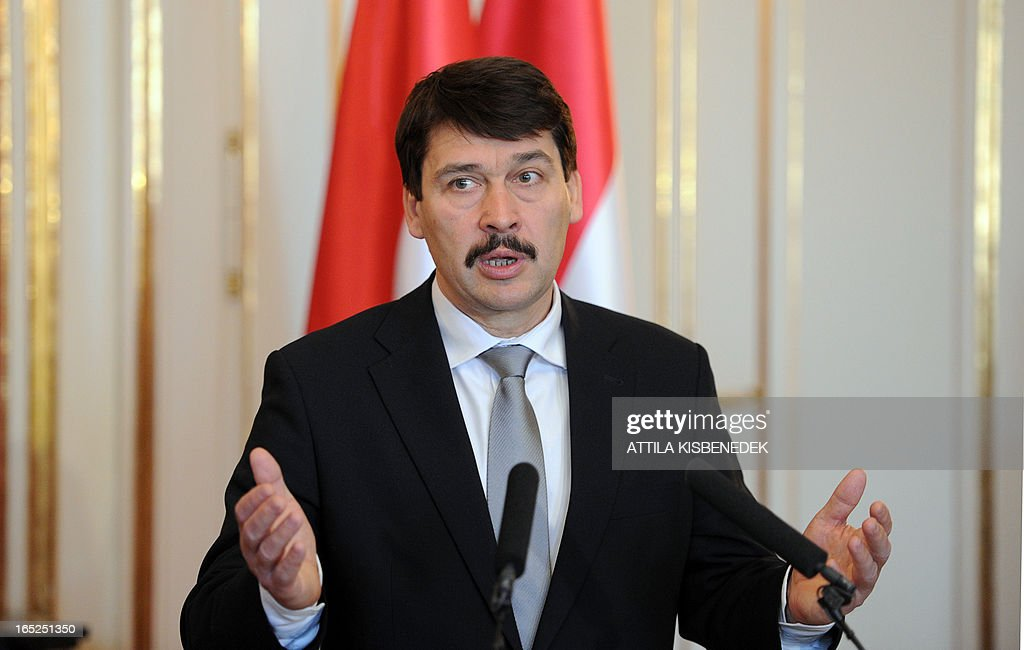 Hungarian President Janos Ader speaks to journalists at the presidential palace in Budapest on April 2, 2013. Bulgarian President Rosen Plevneliev arrived on April 1, 2013 for a official two-day visit in Hungary.