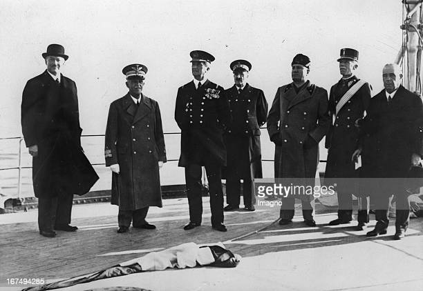 Hungarian prime minister Darany King Victor Emmanuel III regent Mikós Horthy and Dictator Benito Mussolini Naples Photograph Novebmer 28th 1936...