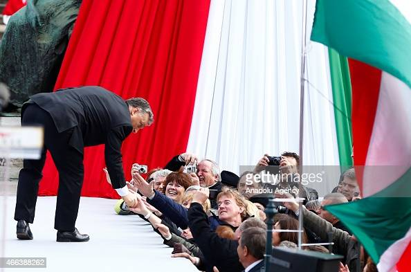 Hungarian Prime Minister Viktor Orban addresses during the Hungary National Day celebrations on March 152015 in Budapest On 15th March Hungarians...