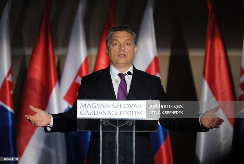Hungarian Prime Minister Viktor Orban addresses his speech at the Hotel Corinthia of Budapest on November 16, 2012 during the Hungarian-Slovakian Economic Forum, organized by the Hungarian Chamber of Commerce.