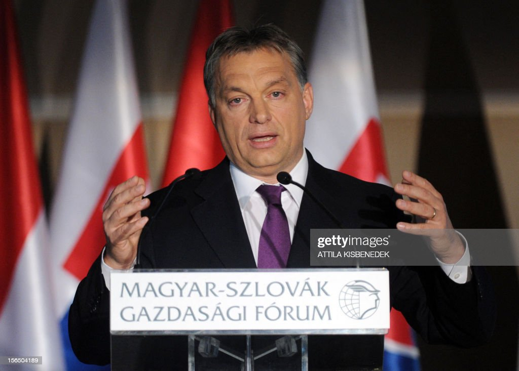 Hungarian Prime Minister Viktor Orban addresses his speech at the Hotel Corinthia of Budapest on November 16, 2012 during the Hungarian-Slovakian Economic Forum, organized by the Hungarian Chamber of Commerce. AFP PHOTO / ATTILA KISBENEDEK