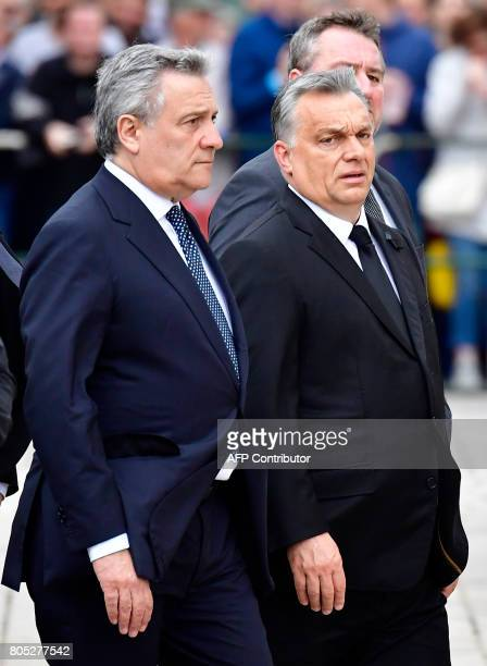 Hungarian Prime Minister Viktor Orban and President of the EU Parliament Antonio Tajani arrive for a memorial service for late former Chancellor...