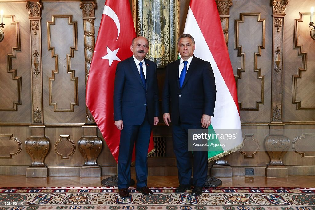 Hungarian Prime Minister Viktor Orban (R) and Turkish Health Minister Mehmet Muezzinoglu (L) meet in Budapest, Hungary on May 2, 2016.