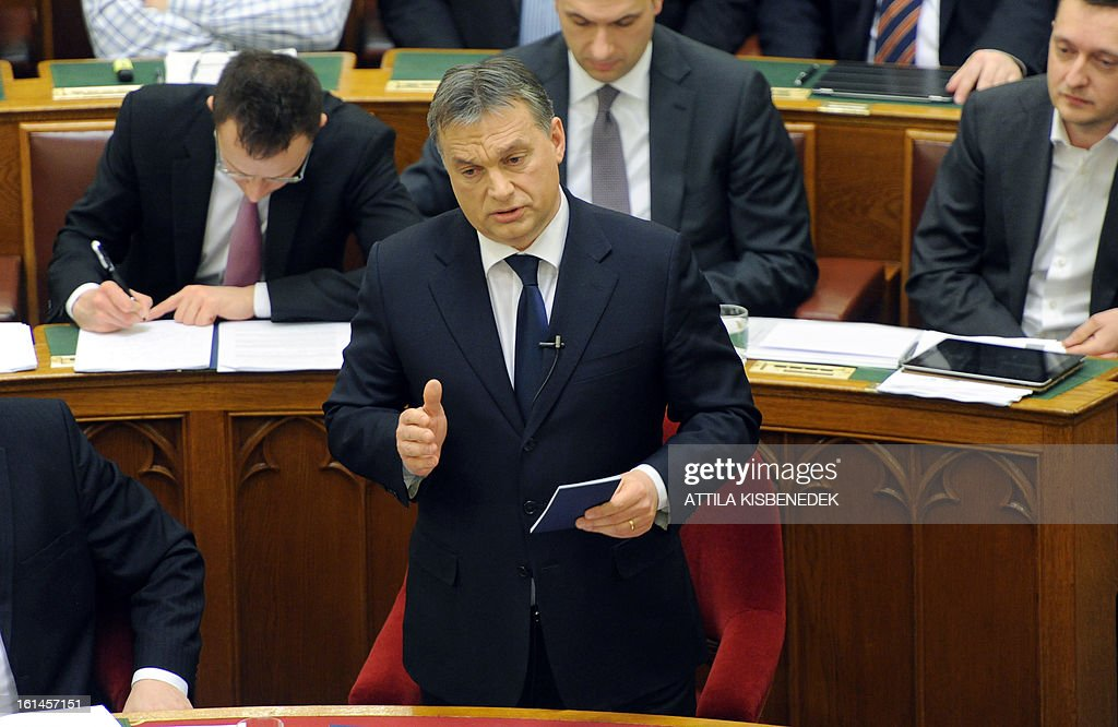 Hungarian Prime Minister Viktor Orban answers questions after his speech at the main hall of the parliament in Budapest on February 11, 2013.