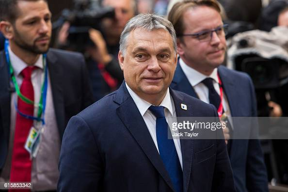 Hungarian Prime Minister Viktor Orban arrives at the Council of the European Union on the first day of a two day summit on October 20 2016 in...