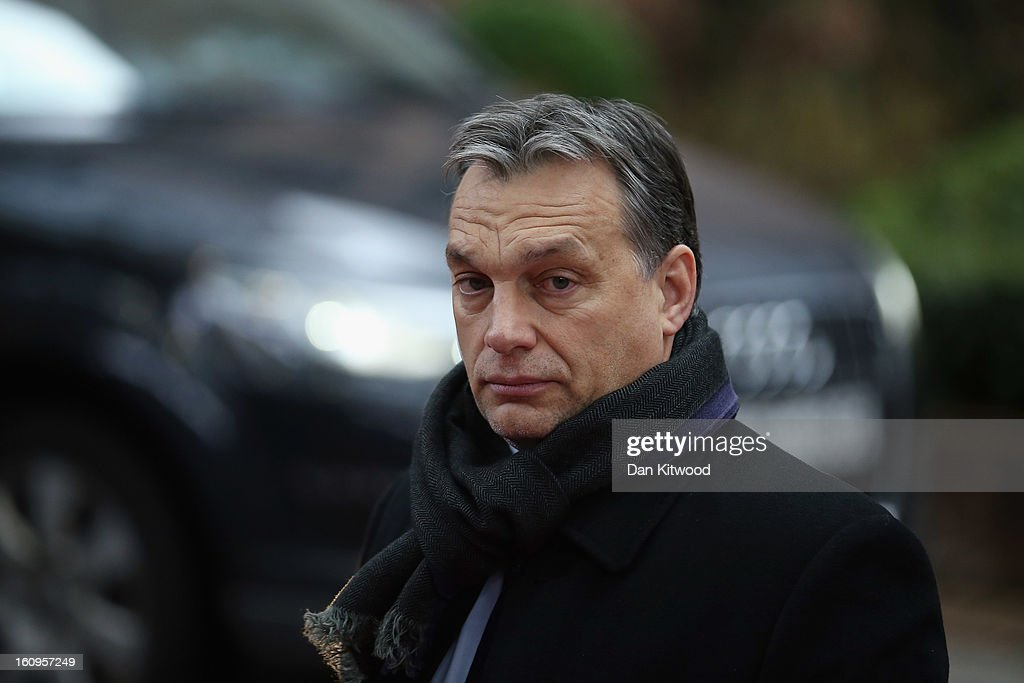 Hungarian Prime Minister Viktor Orban arrives at the headquarters of the Council of the European Union on February 8, 2013 in Brussels, Belgium. EU leaders have set out the framework for agreeing on a 2014-2020 EU budget during talks that continued through the night at the European Council Meetings in Brussels. The historic deal would see 34.4 billion Euros of EU spending cuts over the next 7 year period.