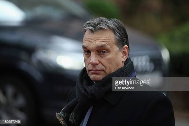 Hungarian Prime Minister Viktor Orban arrives at the headquarters of the Council of the European Union on February 8 2013 in Brussels Belgium EU...
