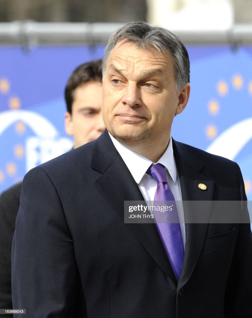 Hungarian Prime Minister Viktor Orban arrives for the European People's Party (PPE) meeting on March 14, 2013 in Brussels. European Union leaders try Thursday to find a difficult balance between austerity policies adopted to cut debt and calls to spend more to generate growth and jobs in an economy stuck in the doldrums.