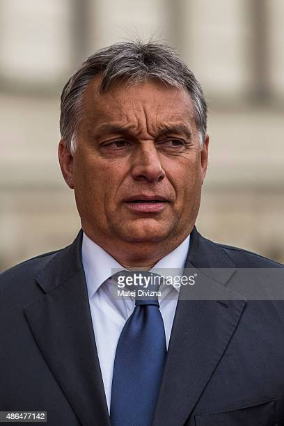 Hungarian Prime Minister Viktor Orban arrives for the extraordinary summit of Visegrad Four countries on Septemter 4 2015 in Prague Czech Republic...