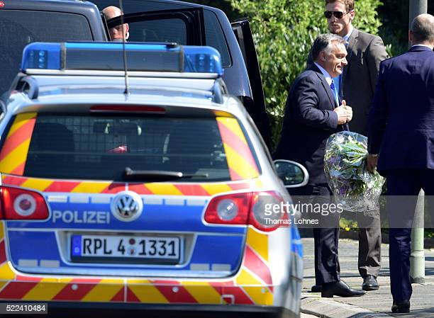 Hungarian Prime Minister Viktor Orban arrives to visit former German Chancellor Helmut Kohl at Kohl's villa in Oggersheim on April 19 2016 in...
