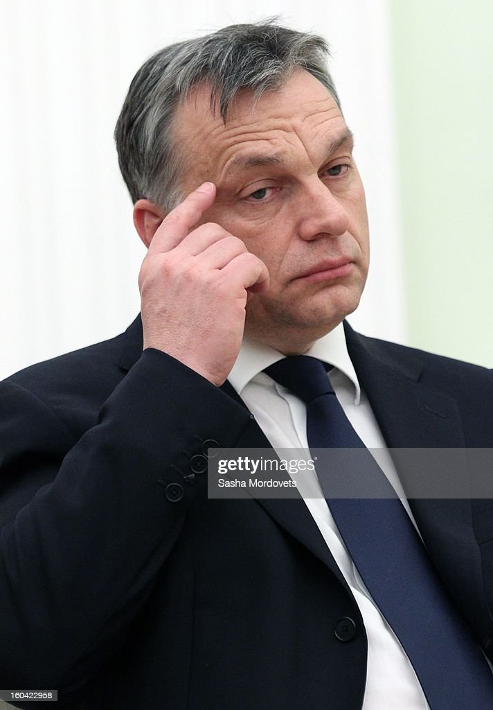 Hungarian Prime Minister Viktor Orban attends a meeting with Russian President Vladimir Putin in the Kremlin on January 31, 2013 in Moscow, Russia. Orban is on a one-day visit to Russia.