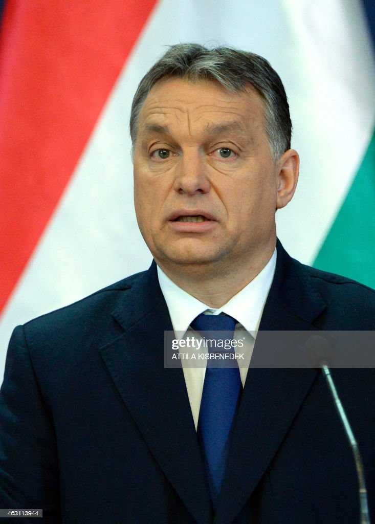Hungarian Prime Minister Viktor Orban attends a press conference with his Georgian counterpart in Delegation Hall of the parliament building in Budapest on February 10, 2015 prior to their press conference. The Georgian guest stays on his two-day official visit in Hungary. AFP PHOTO / ATTILA KISBENEDEK