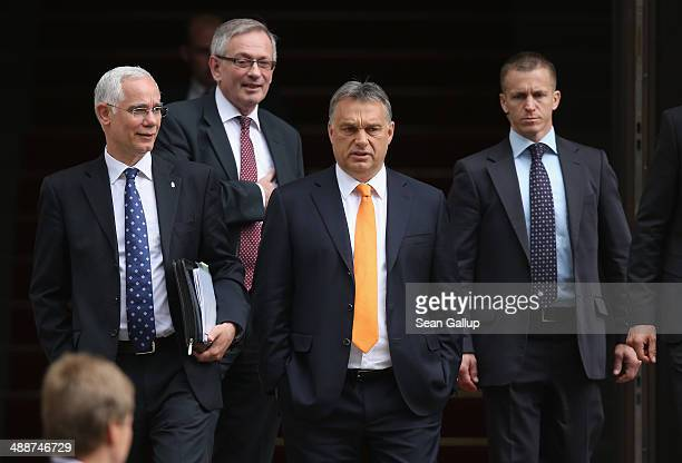 Hungarian Prime Minister Viktor Orban departs after speaking at the Europaforum gathering of German broadcaster WDR at the Foreign Ministry on May 8...
