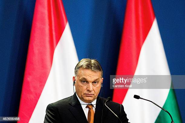 Hungarian Prime Minister Viktor Orban listens during a press conference with German Chancellor Angela Merkel following talks on February 2 2015 in...