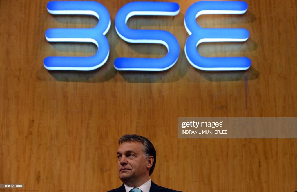 Hungarian Prime Minister Viktor Orban looks on during a visit to the Bombay Stock Exchange (BSE) in Mumbai on October 18, 2013. Orban is in India for a four-day state visit.