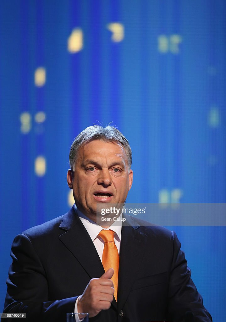 Hungarian Prime Minister <a gi-track='captionPersonalityLinkClicked' href=/galleries/search?phrase=Viktor+Orban&family=editorial&specificpeople=4685765 ng-click='$event.stopPropagation()'>Viktor Orban</a> speaks at the Europaforum gathering of German broadcaster WDR at the Foreign Ministry on May 8, 2014 in Berlin, Germany. Orban, whose policies have drawn widespread criticism from other European Union member states as undemocratic and right-wing, is scheduled to meet with Chancellor Merkel later today.