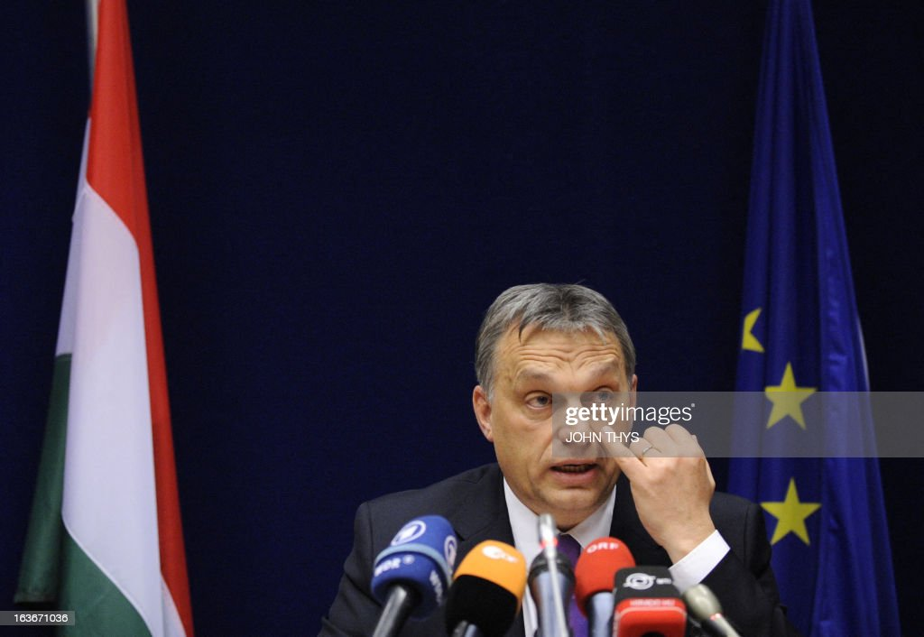 Hungarian Prime Minister Viktor Orban speaks during a press conference at the EU Headquarters on March 14, 2013 in Brussels, prior to a two-day European Union leaders summit. European Union leaders try Thursday to find a difficult balance between austerity policies adopted to cut debt and calls to spend more to generate growth and jobs in an economy stuck in the doldrums.