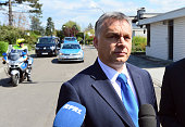 Hungarian Prime Minister Viktor Orban speaks to the media after he visit former German Chancellor Helmut Kohl at Kohl's villa in Oggersheim on April...