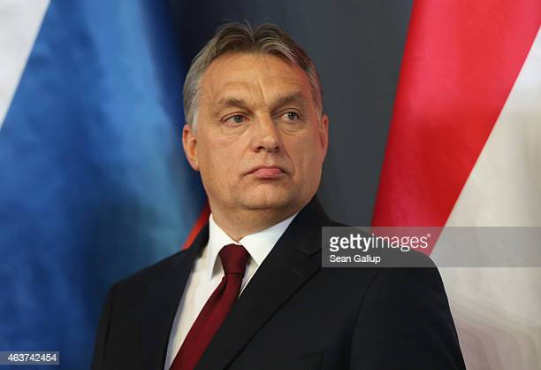 Hungarian Prime Minister Viktor Orban speaks to the media with Russian President Vladimir Putin at Parliament on February 17 2015 in Budapest Hungary...